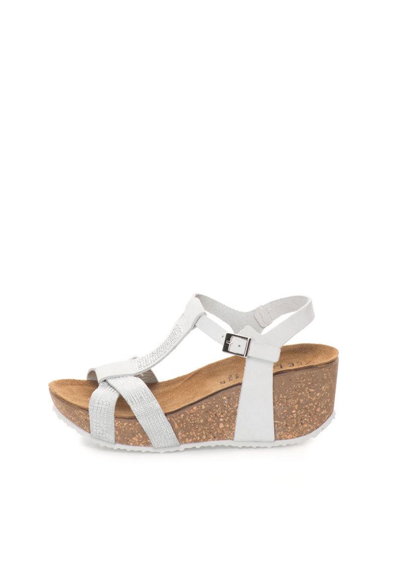 Sandale wedge alb cu argintiu de piele nabuc