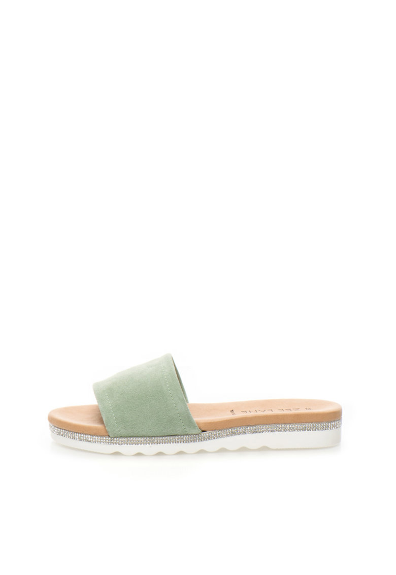 Zee Lane Papuci verde celadon de piele intoarsa