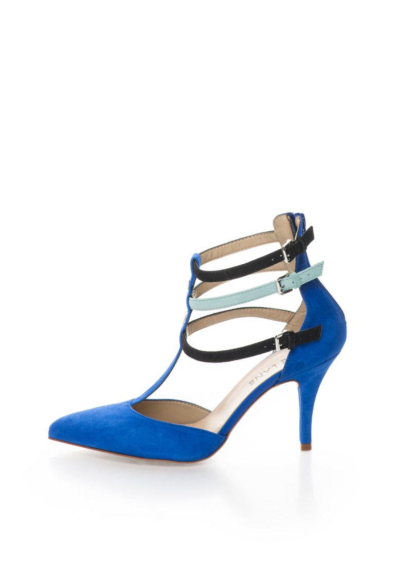 Zee Lane Pantofi albastru royal de piele intoarsa cu benzi cu catarame