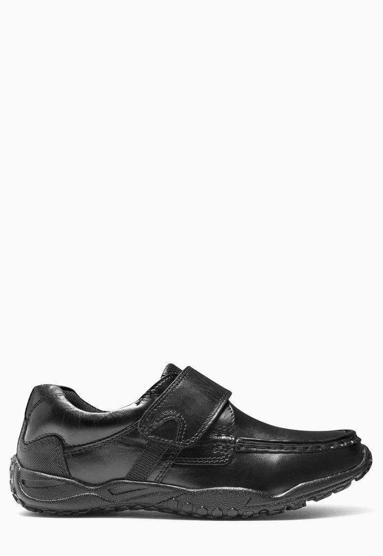 Pantofi negri de piele cu banda velcro