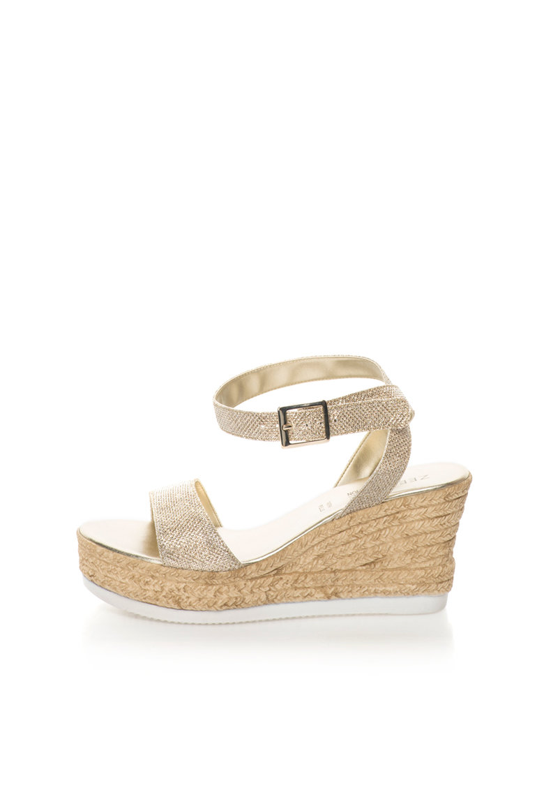 Zee Lane Collection Sandale wedge tip espadrile argintii stralucitoare