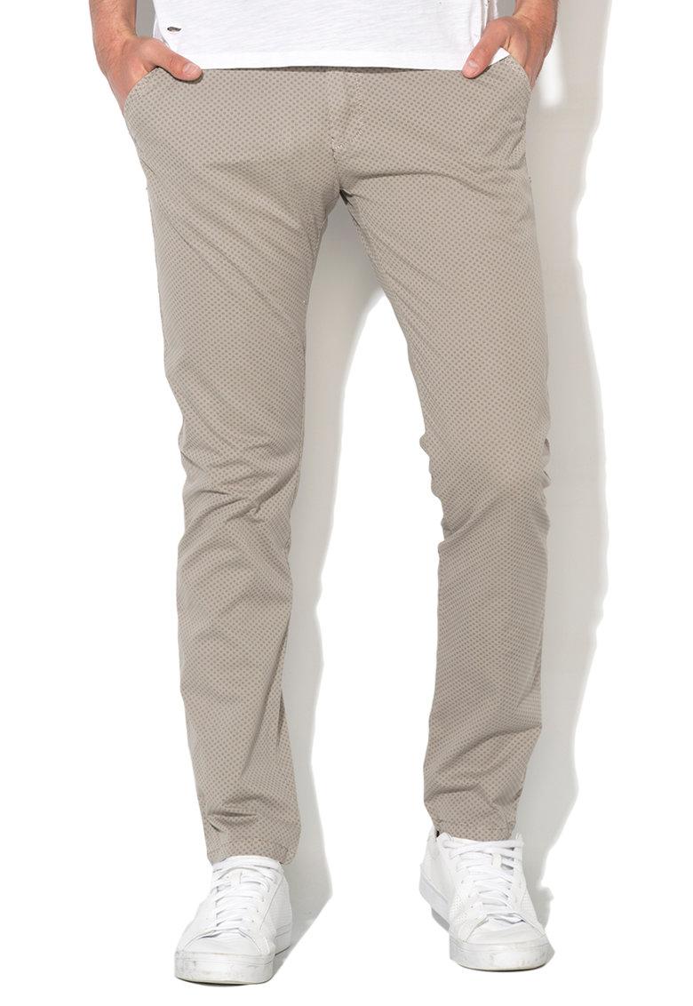 Pantaloni chino gri deschis cu model floral de la Zee Lane Denim – ZL17S-3100-LIGHT-GREY