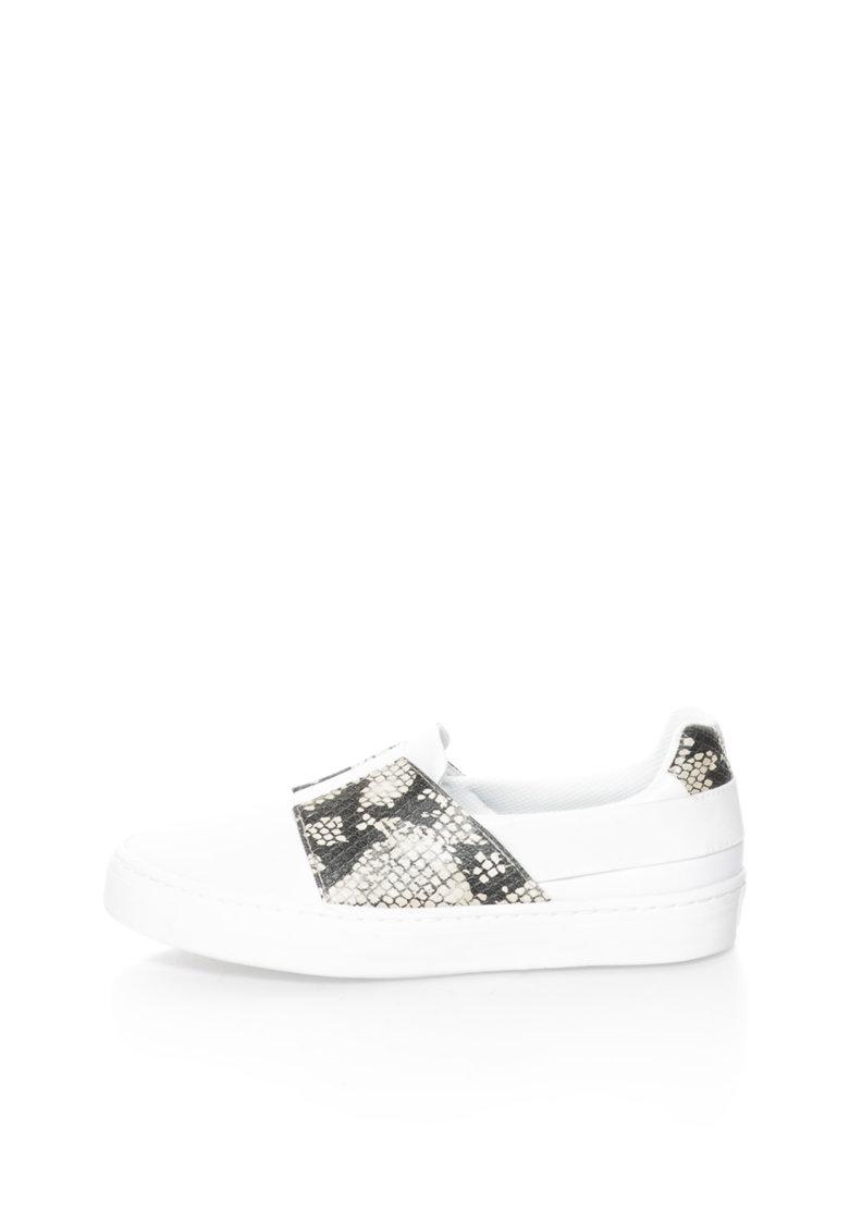 Gioseppo Pantofi slip-on albi cu insertii cu model reptila Selecta