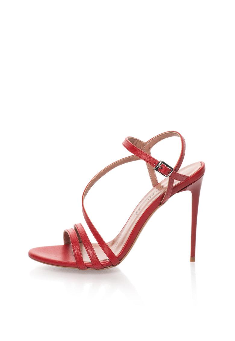 Zee Lane Sandale stiletto rosii de piele cu barete multiple Silvia