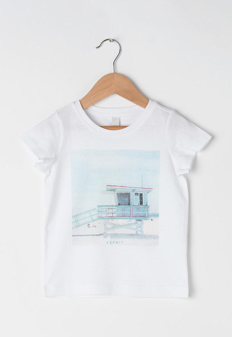 Tricou alb cu imprimeu de la Esprit