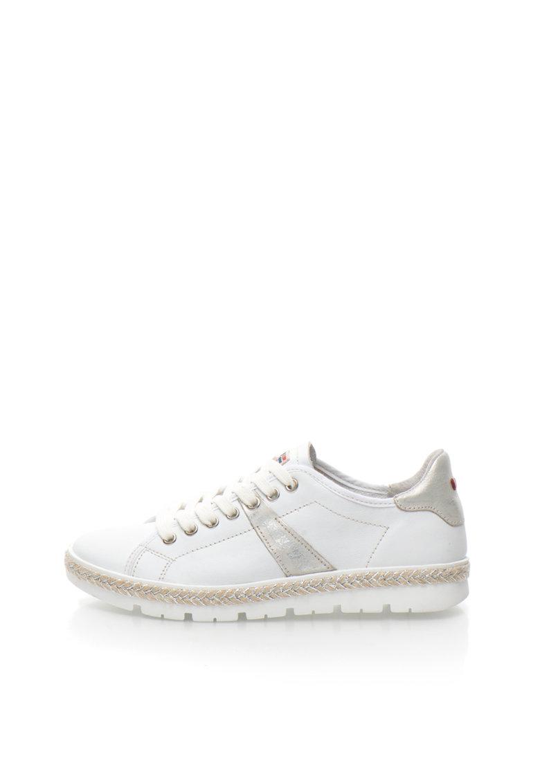 Napapijri Pantofi sport albi de piele cu garnitura impletita Lykke