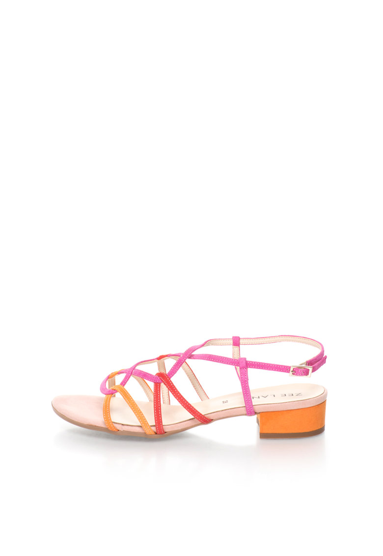 Sandale multicolore de piele intoarsa cu barete multiple