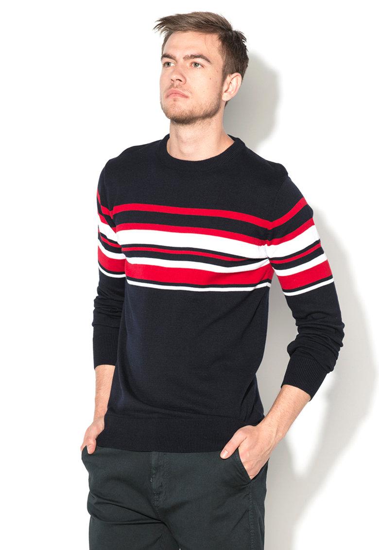 BRAVE SOUL – Pulover bleumarin inchis tricotat fin cu dungi rosii si albe MK-273STRIPE-DARK-NAVY-RED-OPTIC-W