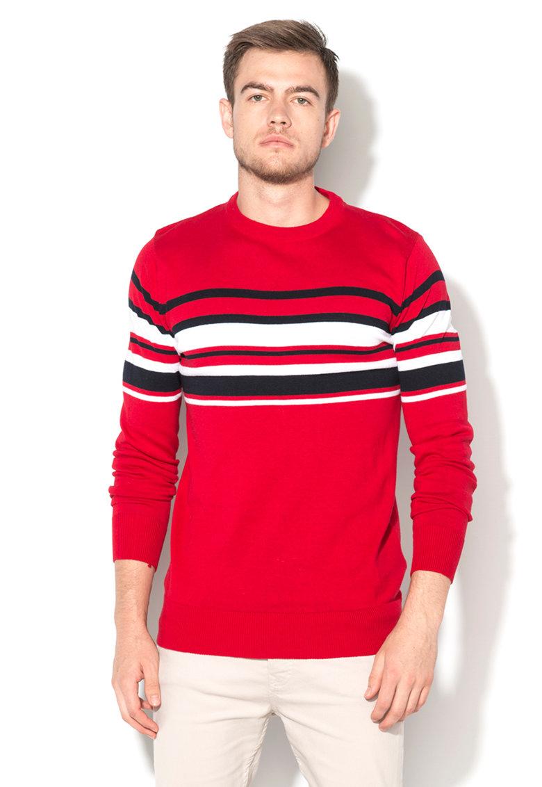 BRAVE SOUL Pulover rosu tricotat fin cu dungi bleumarin si albe