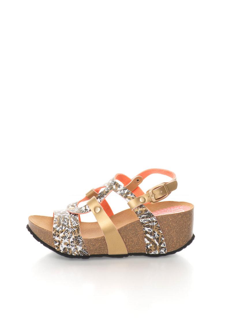 Sandale wedge negru cu auriu