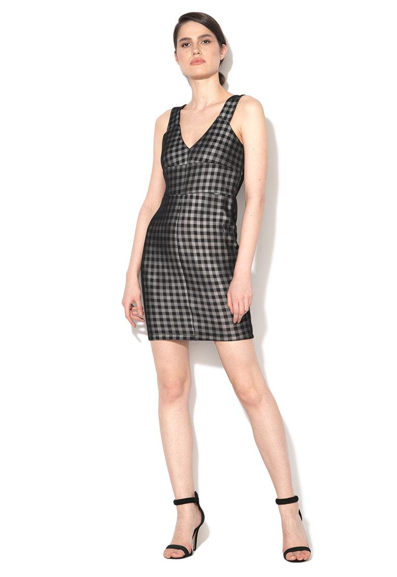 Rochie negru cu alb de plasa cu model in carouri