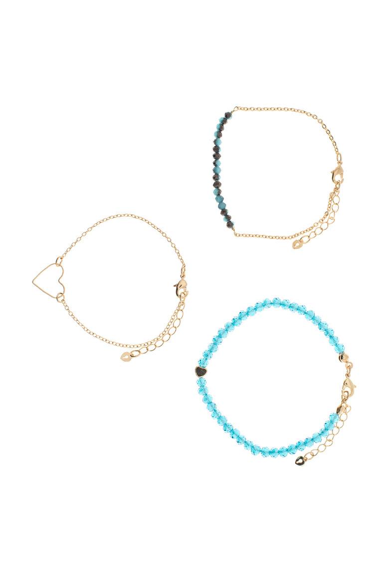 Riccova Set de bratari auriu cu albastru – 3 bucati