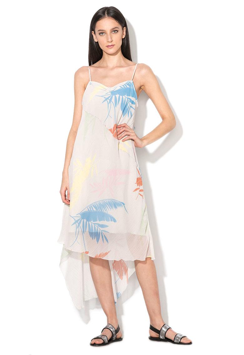 Rochie alb prafuit cu imprimeu tropical Viviana