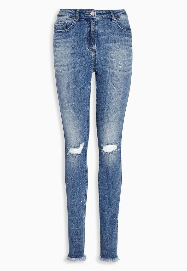NEXT Jeansi skinny albastri cu aspect deteriorat
