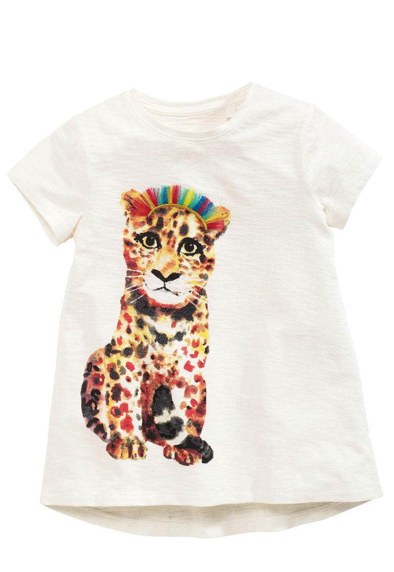 Tricou alb cu imprimeu leopard