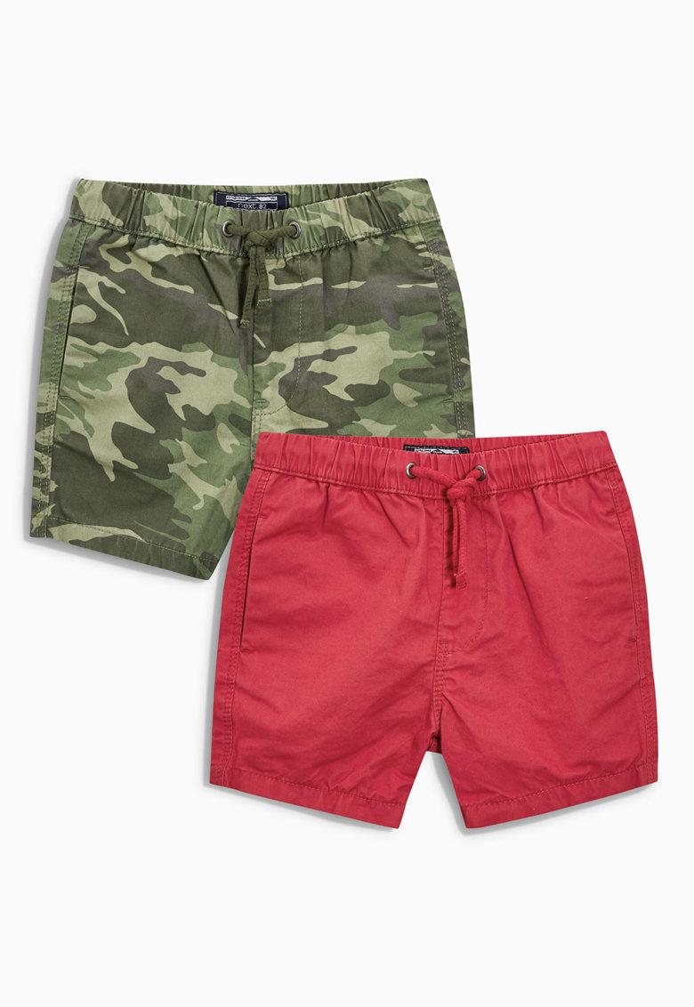 NEXT Set de pantaloni scurti verde cu rosu fara inchidere – 2 perechi