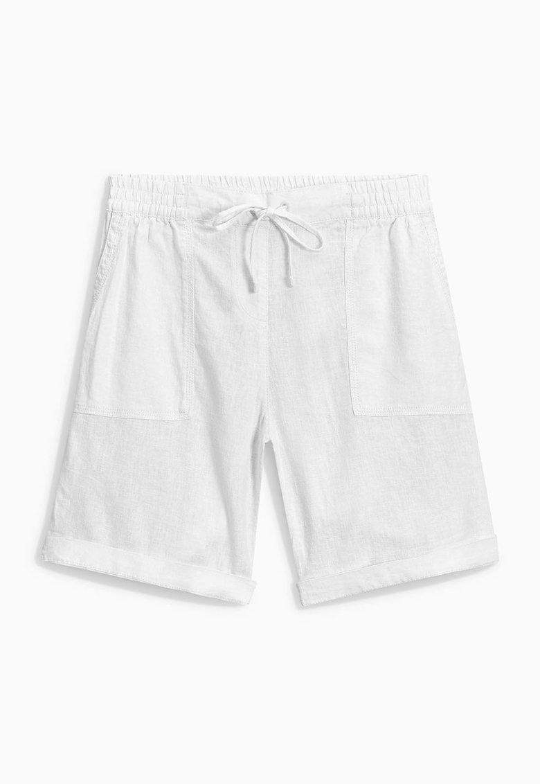 NEXT Pantaloni scurti albi din amestec de in