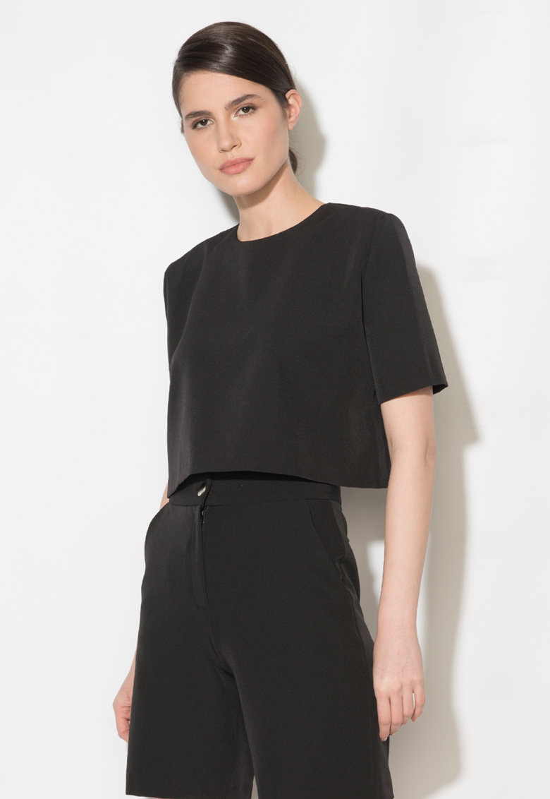 Bluza crop neagra Zee Lane Collection