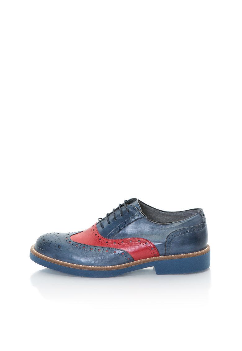 Zee Lane Pantofi brogue albastru mineral cu rosu de piele