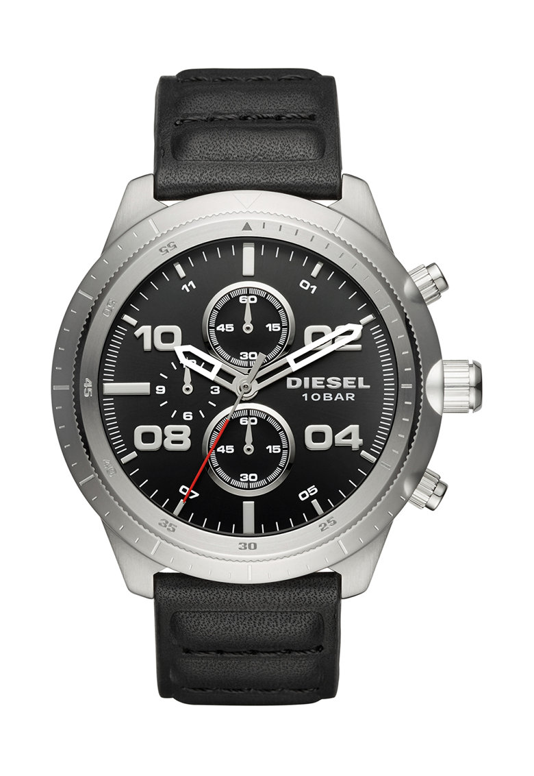 Diesel Ceas cronograf negru cu argintiu Padlock 0