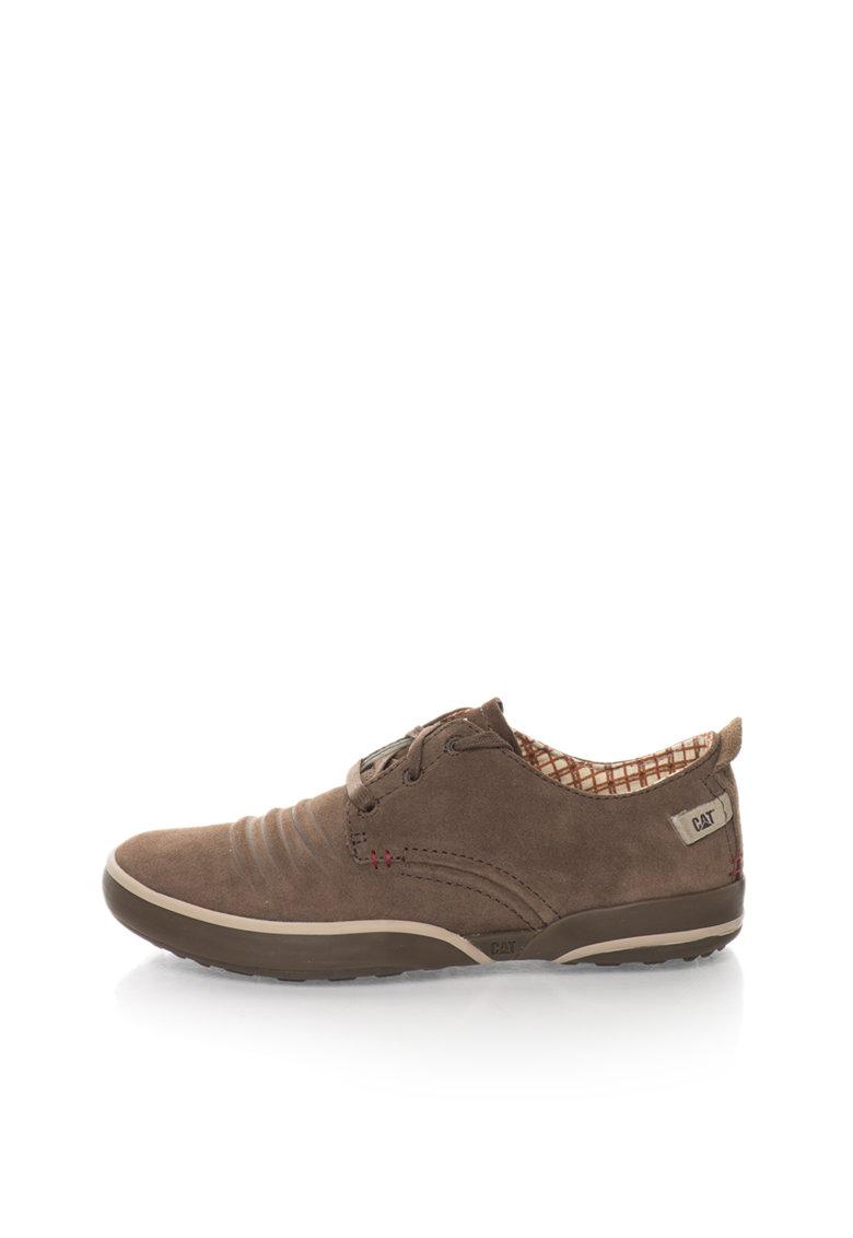 Pantofi maro fango de piele intoarsa Status