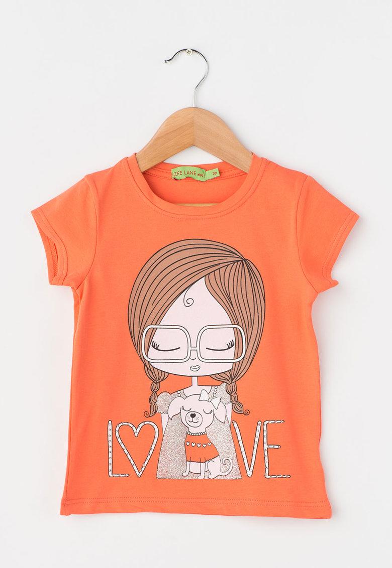 Zee Lane Kids Tricou oranj mandarina cu imprimeu cu fetita