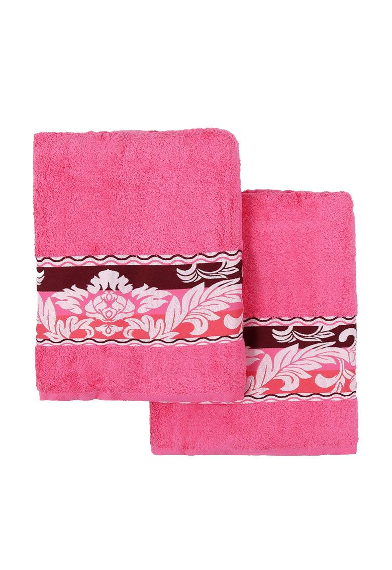 Leunelle Set de prosoape fucsia cu design floral Yaprak – 2 piese