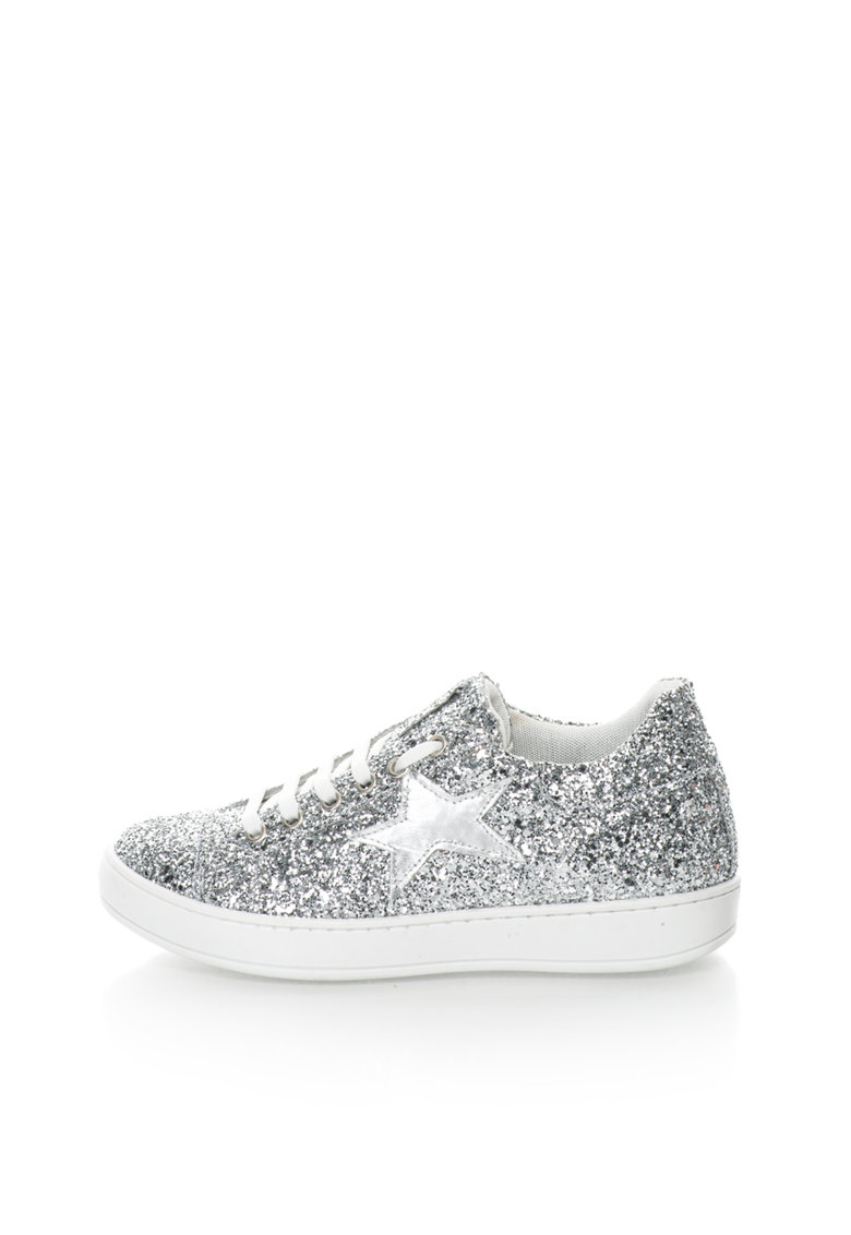 Pantofi sport argintii cu exterior stralucitor
