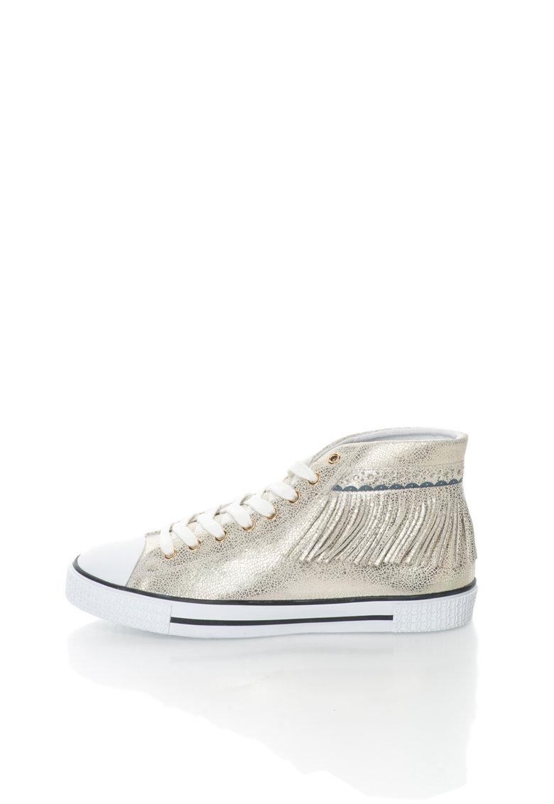 Trussardi Jeans Tenisi mid-high aurii de piele cu franjuri