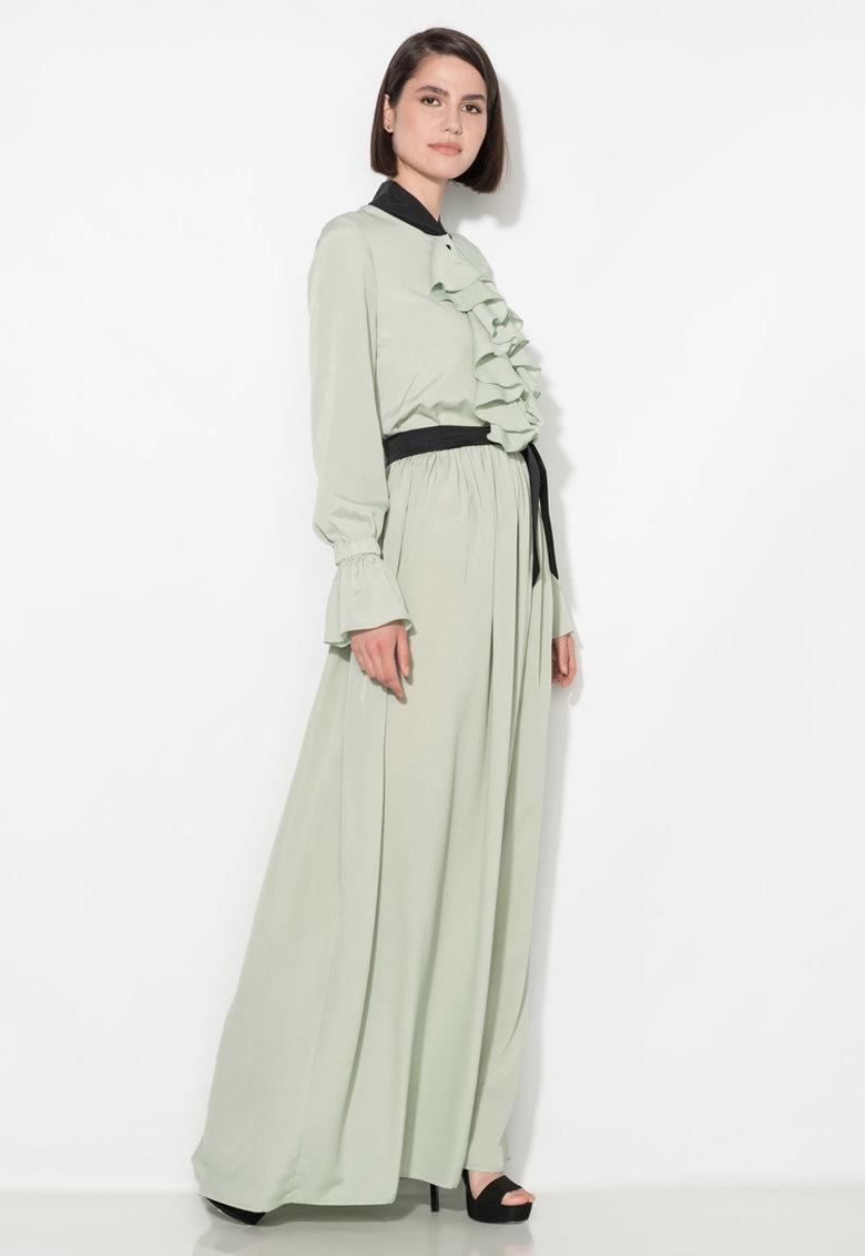 Zee Lane Collection Rochie maxi verde celadon cu garnituri negre