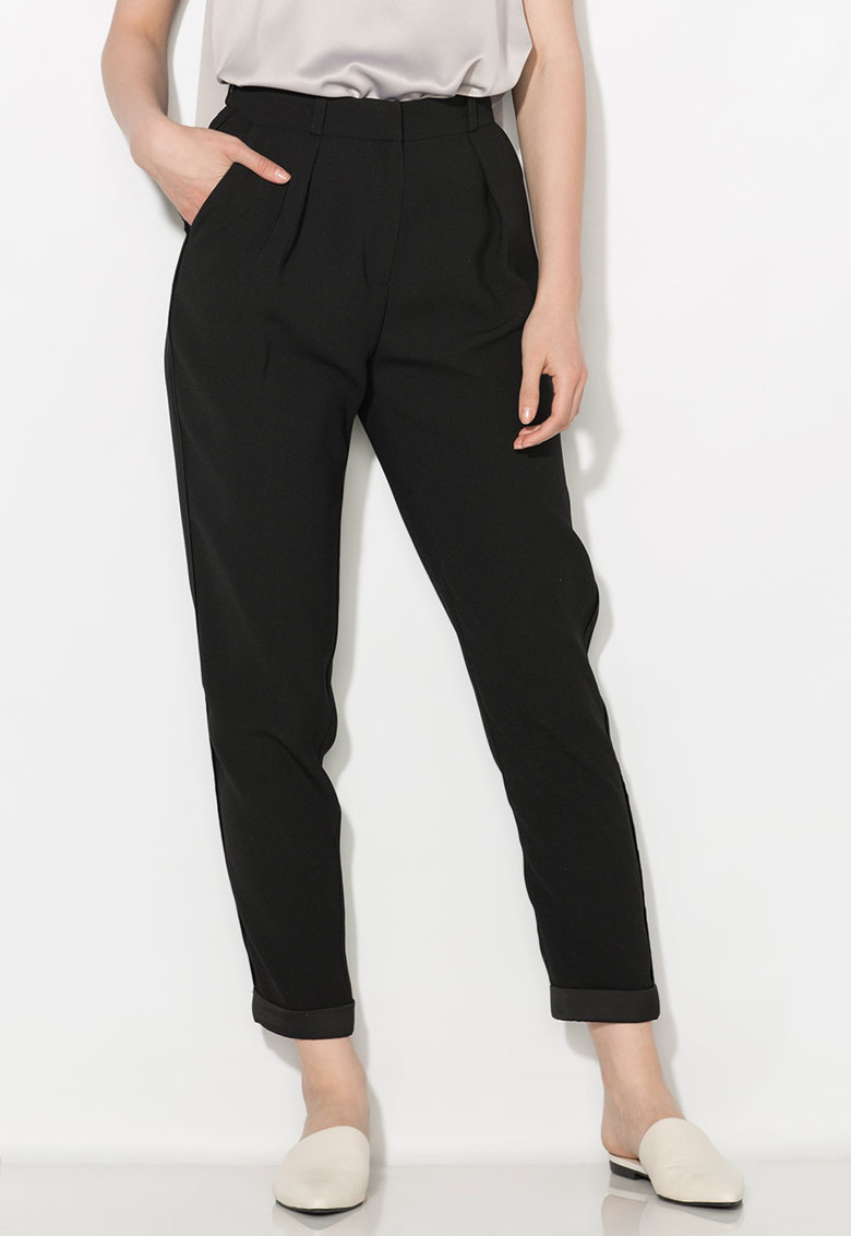 Pantaloni crop conici negri Zee Lane Collection