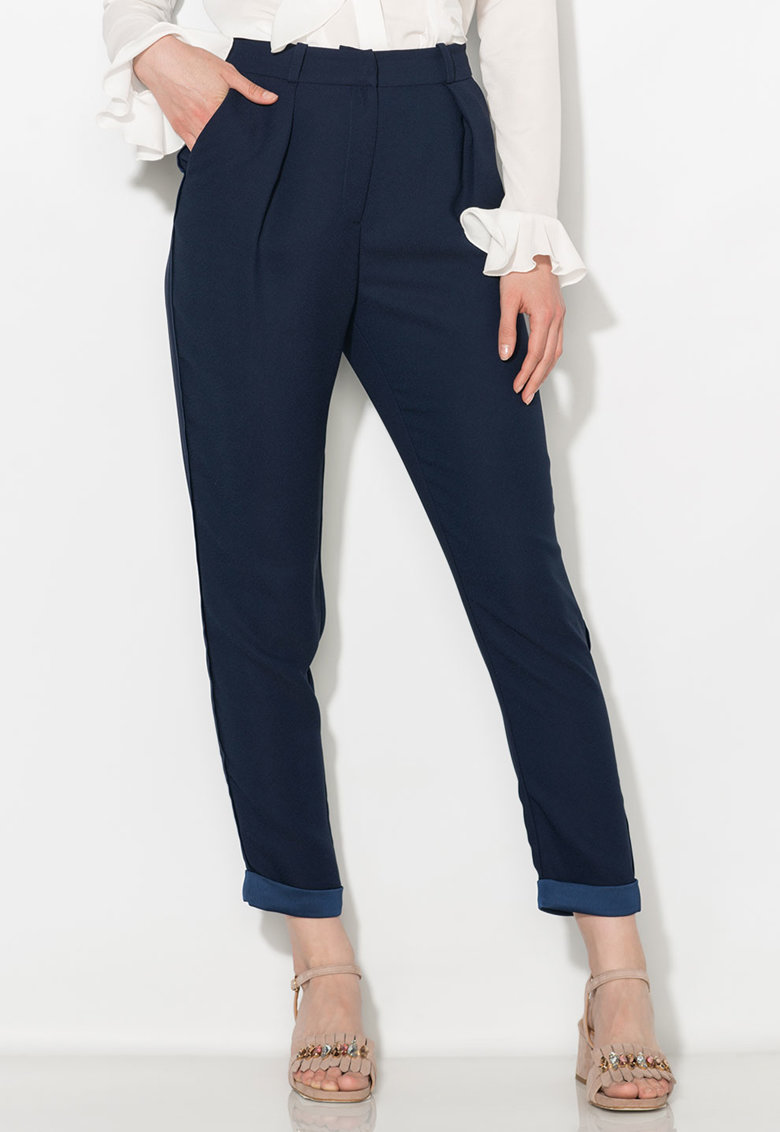 Zee Lane Collection Pantaloni conici crop bleumarin