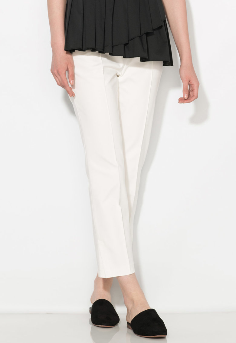Pantaloni crop albi Zee Lane Collection