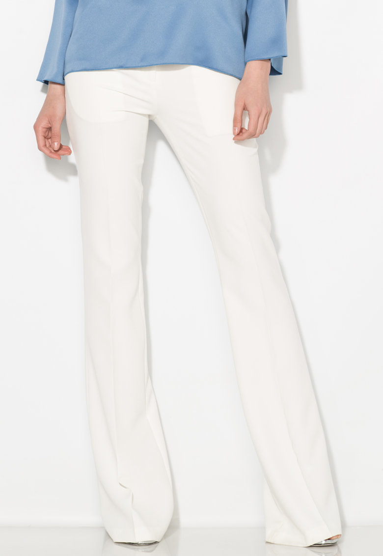 Zee Lane Collection Pantaloni albi evazati si cu pensa