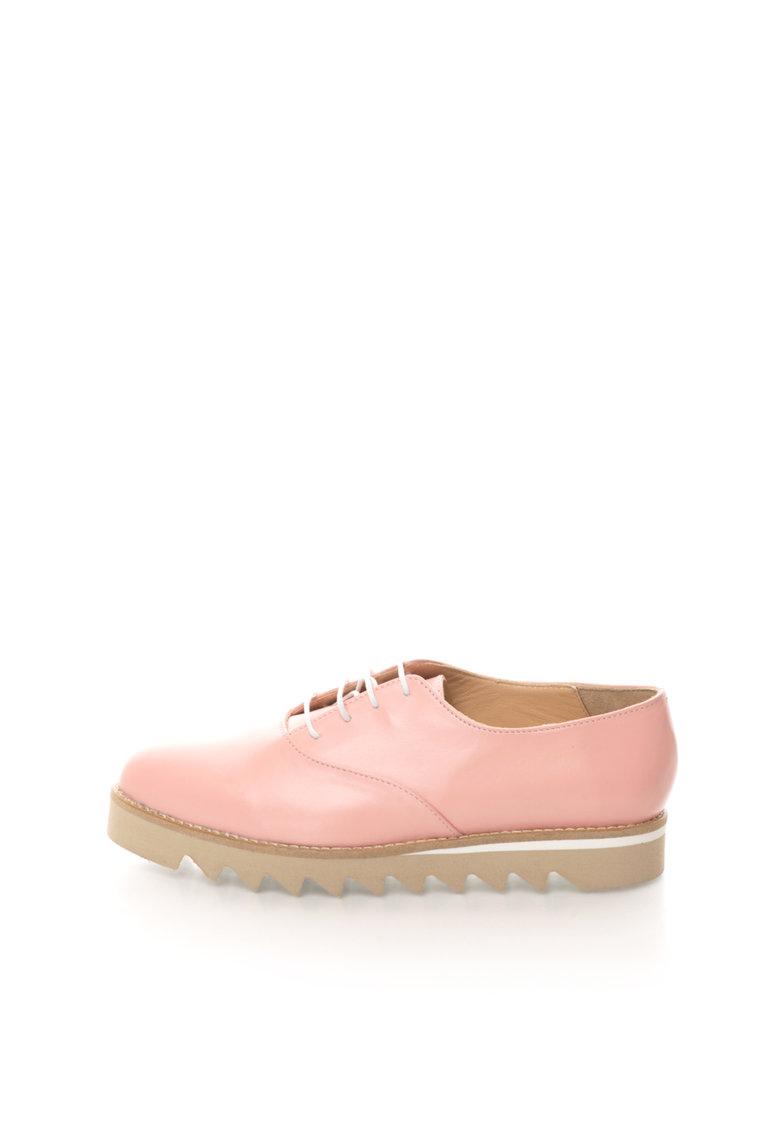 Mihaela Glavan Pantofi Oxford roz pal de piele cu talpa flatform