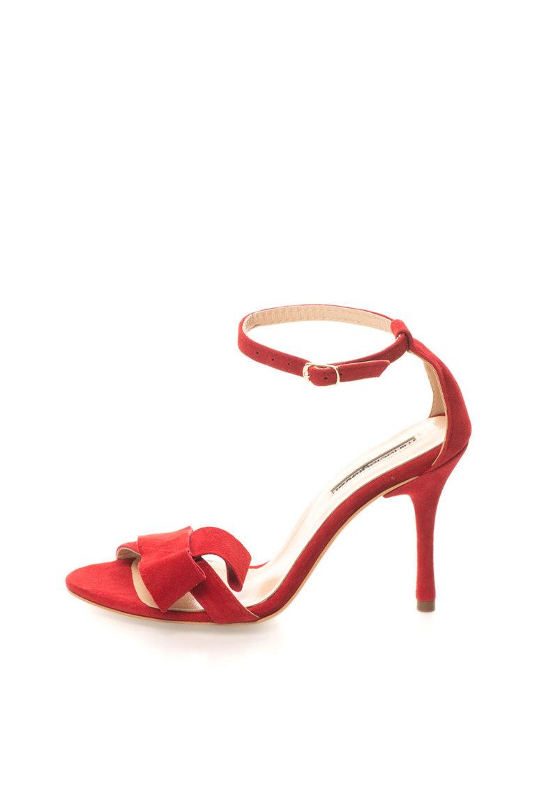 Sandale rosii din piele intoarsa cu bareta pe glezna