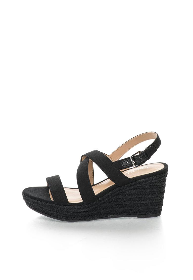 Sandale wedge negre de panza Katerina