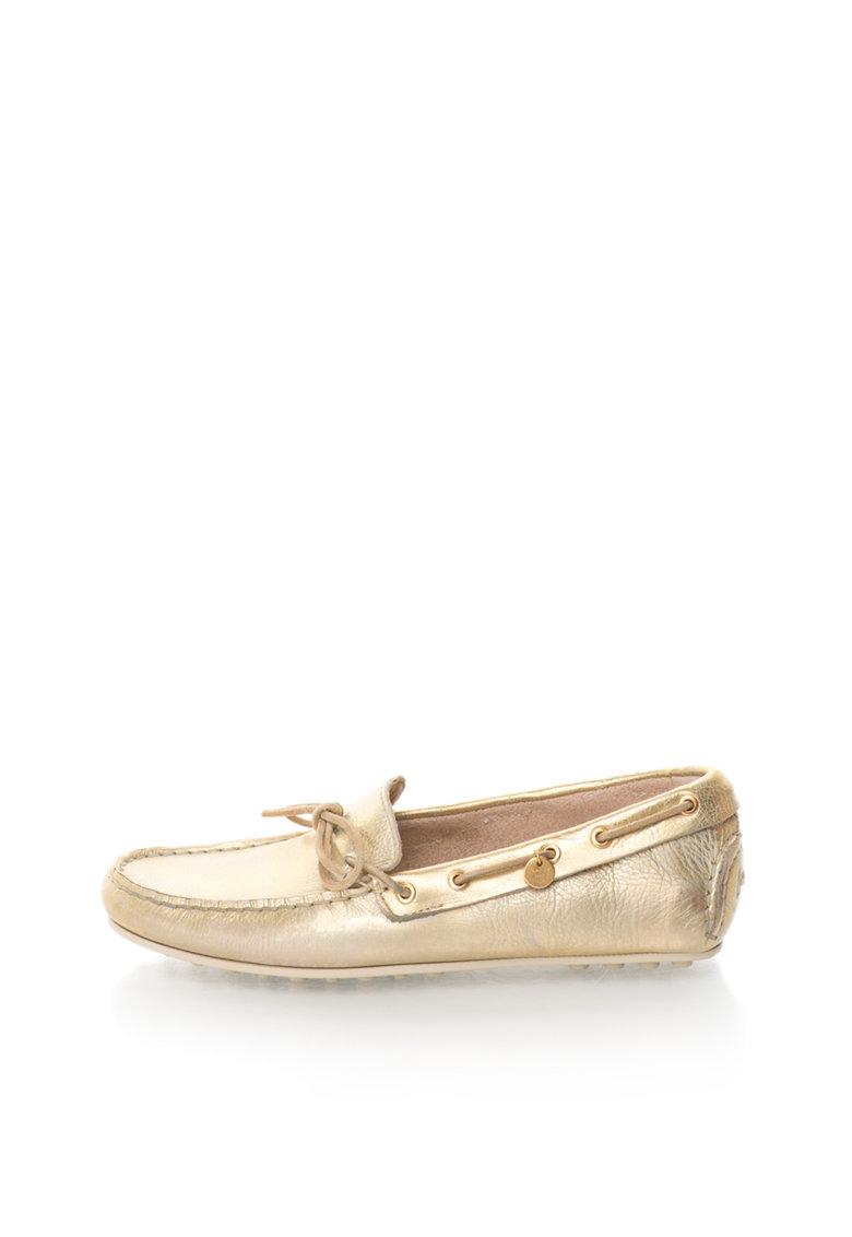 Pantofi loafer aurii de piele Montauk