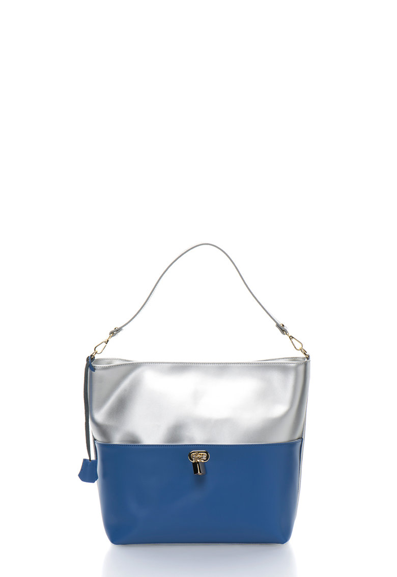 Zee Lane Collection Geanta shopper argintiu cu albastru de piele