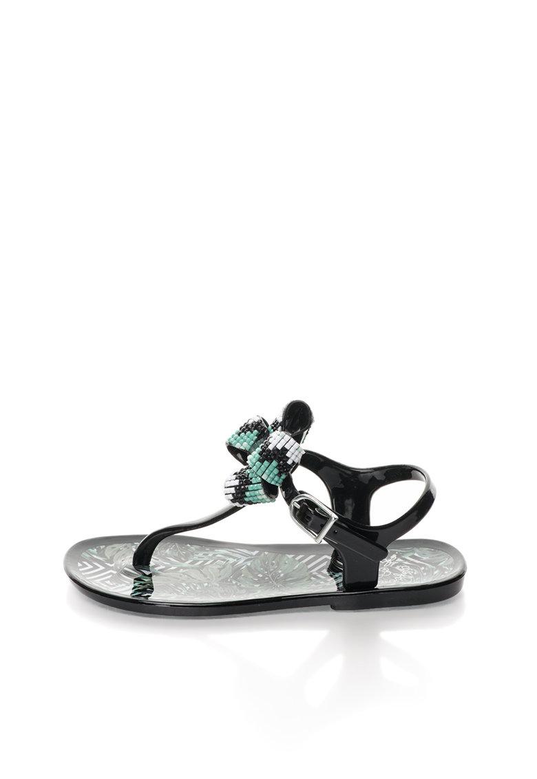 Colors of California Sandale negre cauciucate cu bareta separatoare si funda