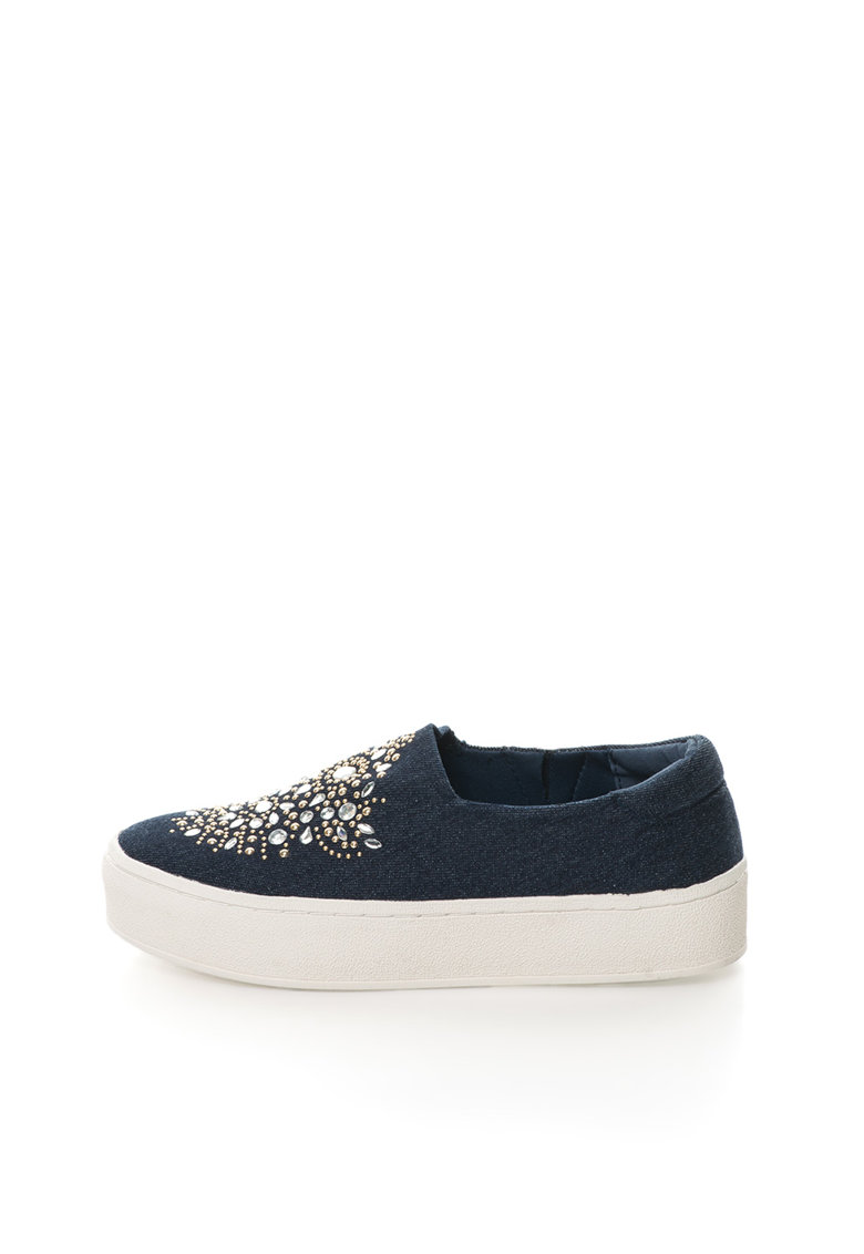 Colors of California Pantofi slip-on bleumarin din denim decorati cu strasuri