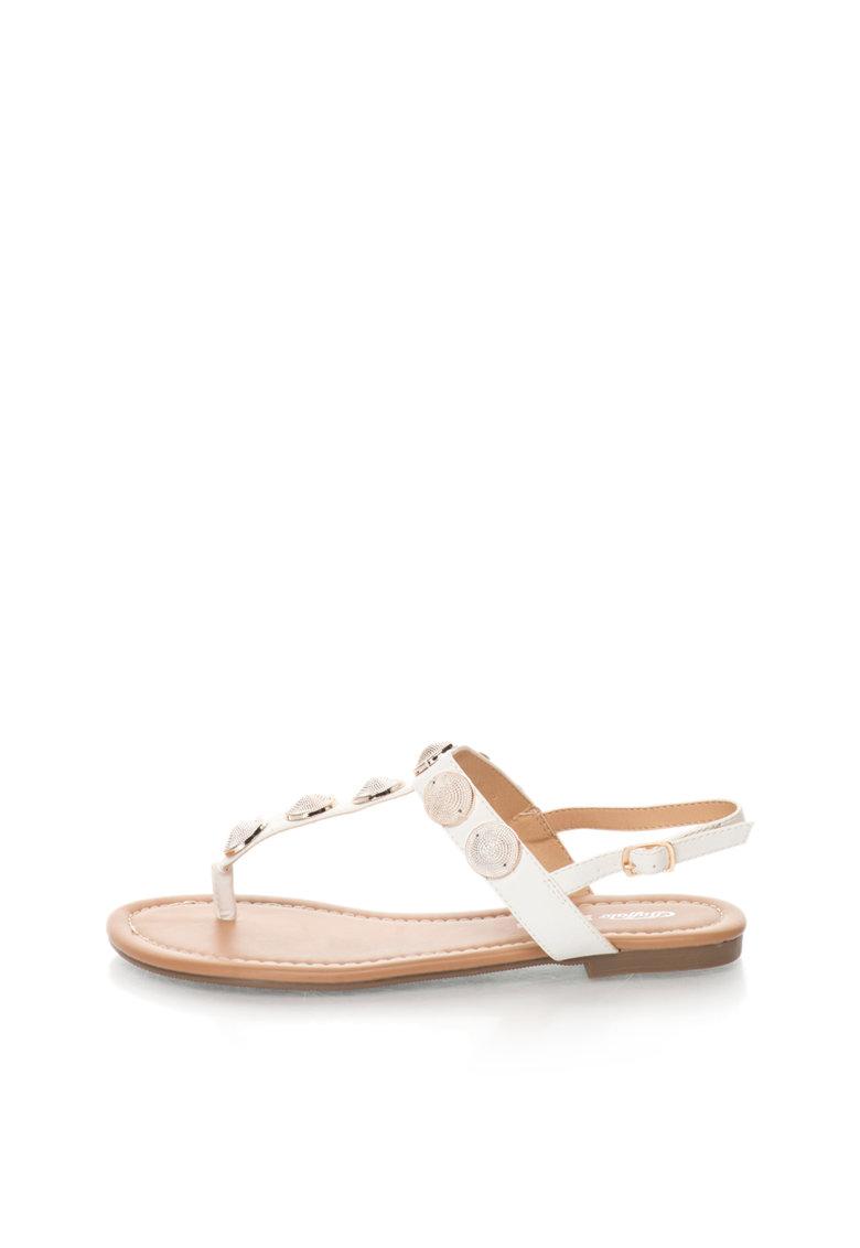 Sandale albe cu bareta separatoare si decoratiuni