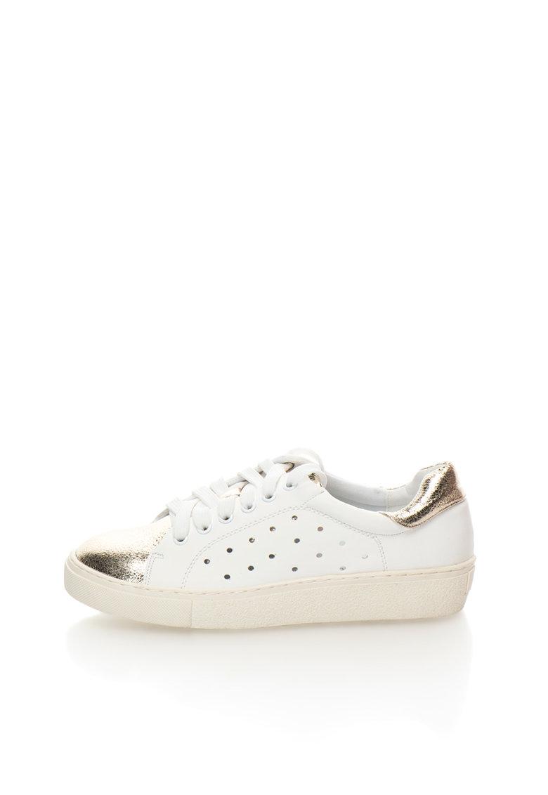 Pantofi sport alb cu auriu