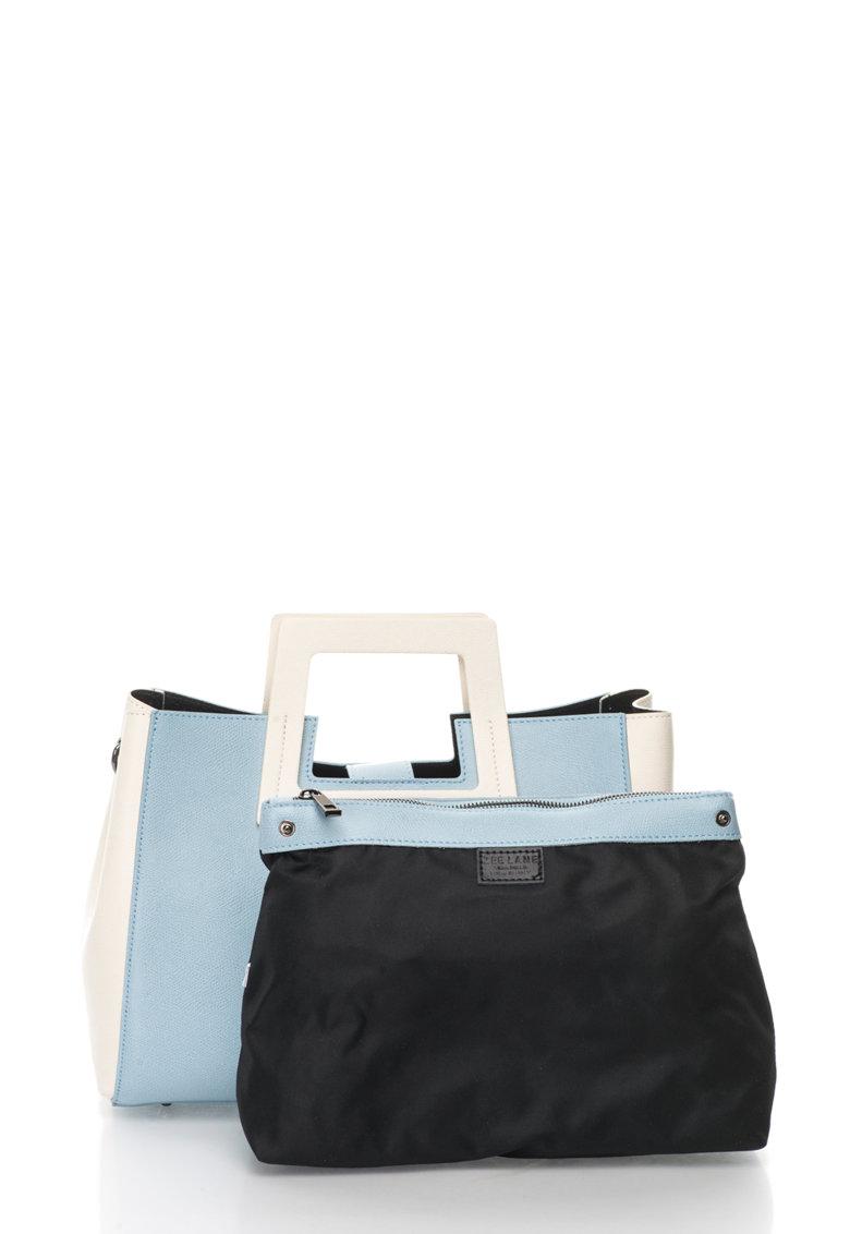 Zee Lane Geanta albastru azur si crem de piele cu design minimalist