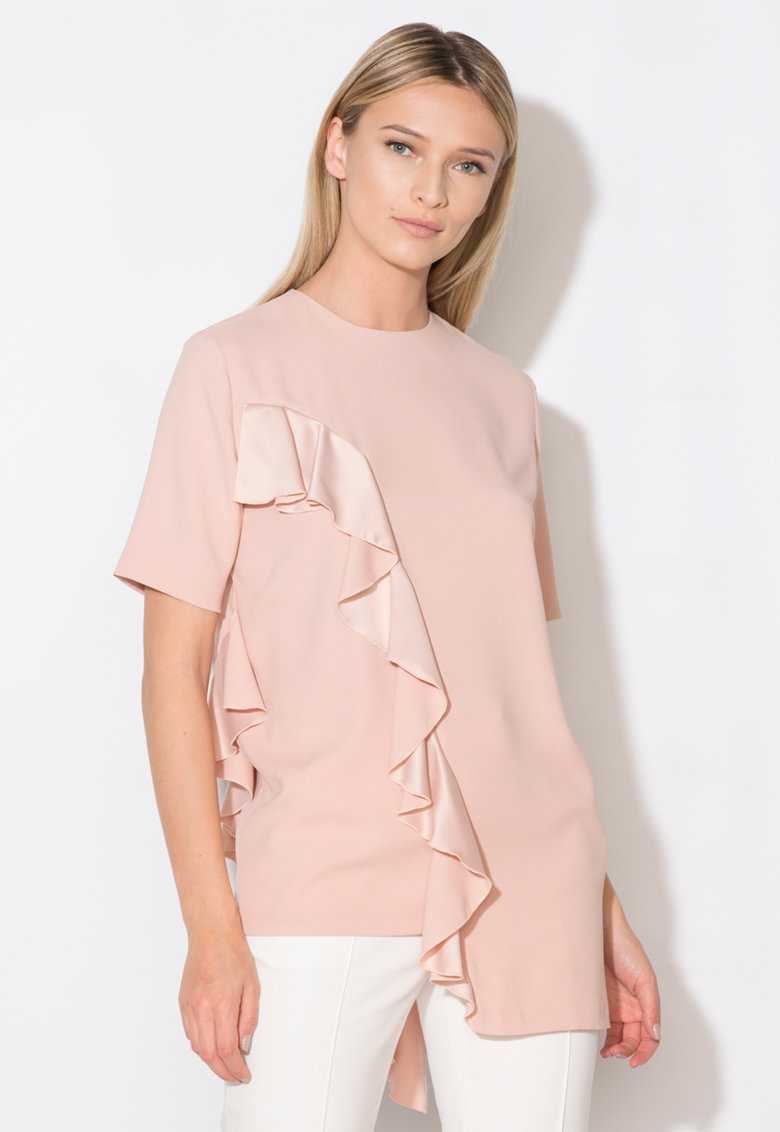 Zee Lane Collection Bluza roz prafuit asimetrica cu volane