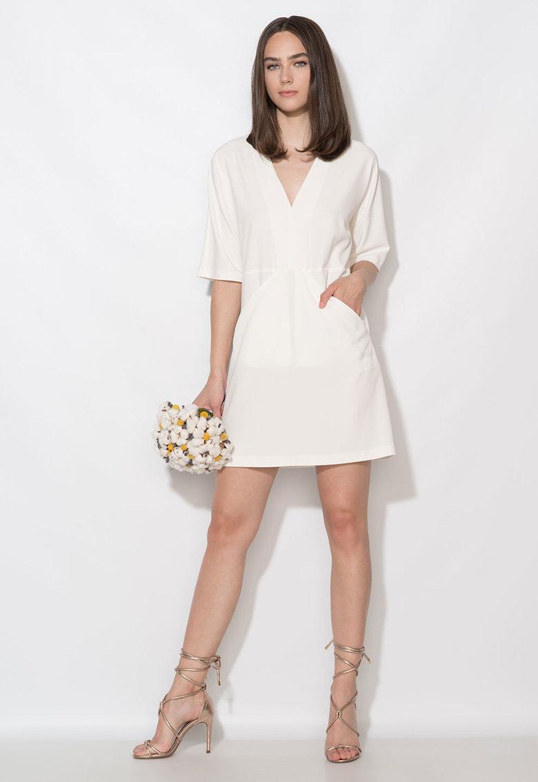 Zee Lane Collection Rochie alb unt cu buzunare drapate