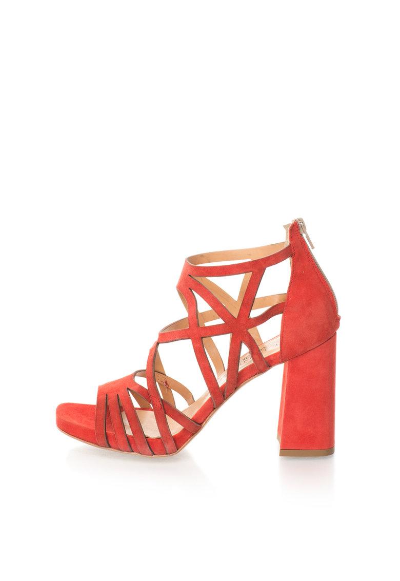 Sandale rosii de piele intoarsa cu toc masiv