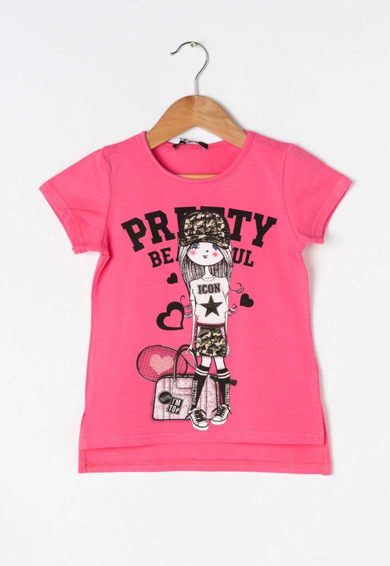 Zee Lane Kids Tricou negru si roz cu strasuri transparente