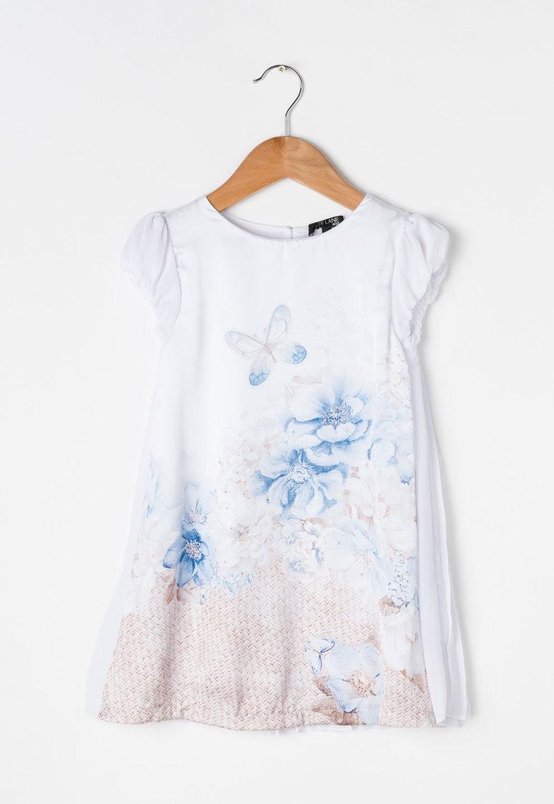 Zee Lane Kids Bluza lunga alba cu imprimeu albastru si maro deschis