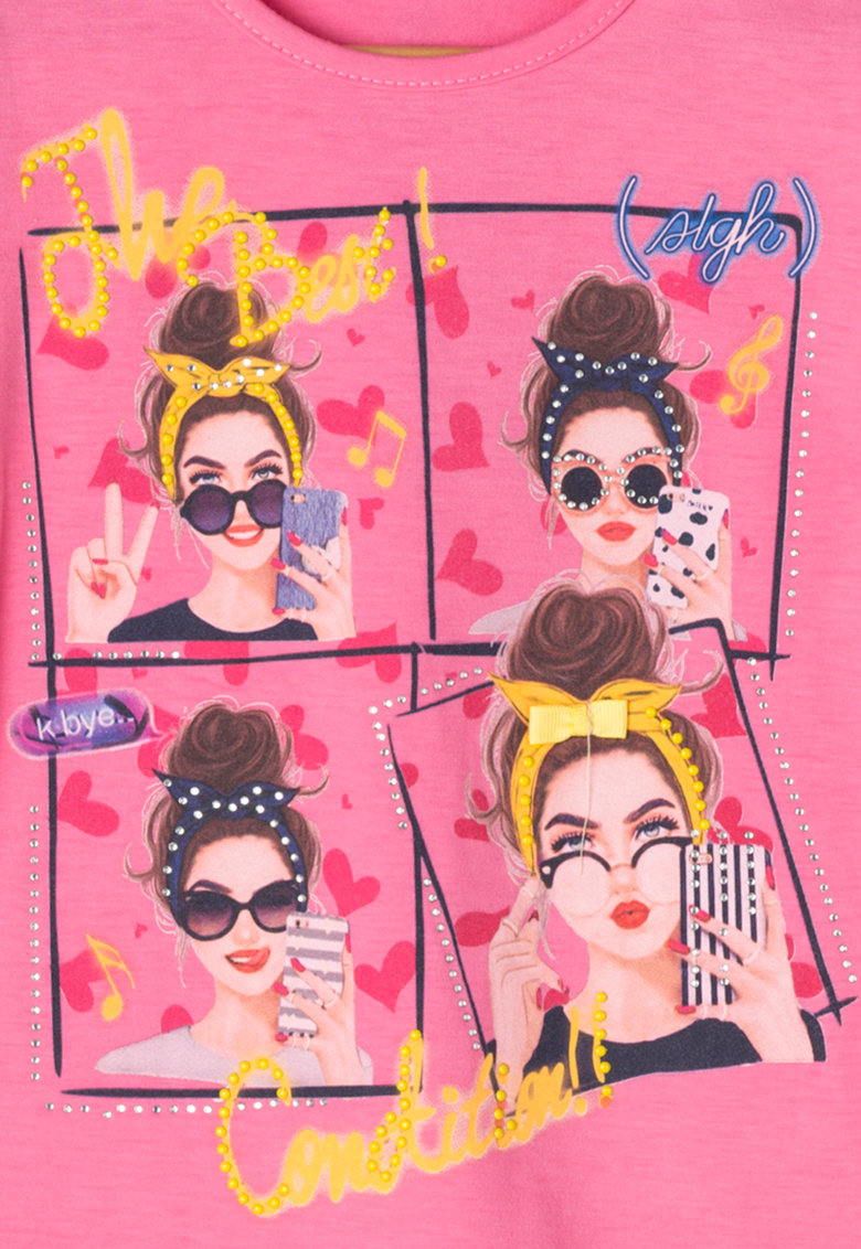 Zee Lane Kids Tricou roz cu imprimeu cu tinte si strasuri